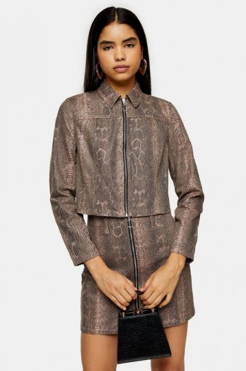 TOPSHOP Sand Snake Print Zip Fitted Jacket