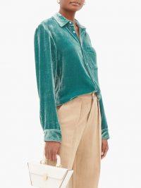 SIES MARJAN Sander corduroy-velvet shirt in green