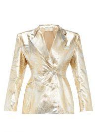 SARA BATTAGLIA Palm-leaf brocade double-breasted suit jacket ~ gold suit jackets