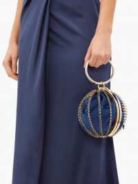 ROSANTICA Sasha crystal-embellished cage-frame clutch in navy – small metal event bags