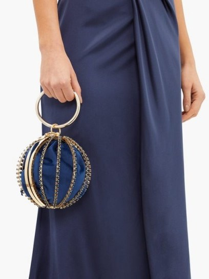 ROSANTICA Sasha crystal-embellished cage-frame clutch in navy – small metal event bags - flipped