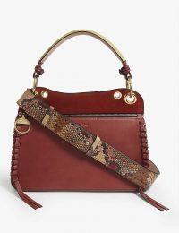 SEE BY CHLOE Ellie velvet leather shoulder bag in faded red
