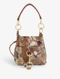 SEE BY CHLOE Tony snake-effect leather shoulder bag in Powder