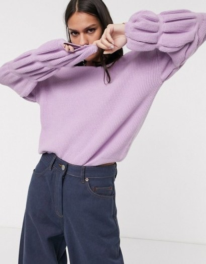 Selected Femme knitted jumper with sleeve detail in lilac - flipped