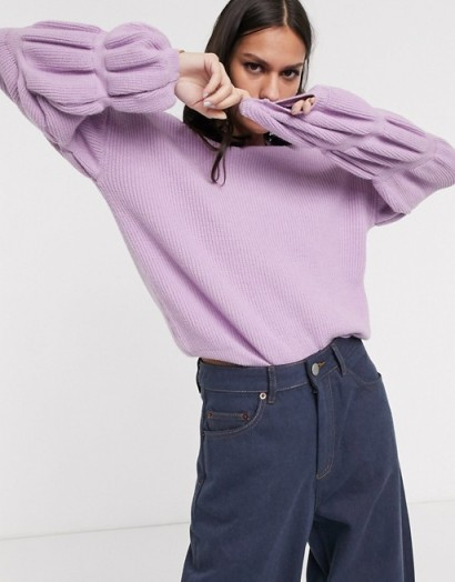 Selected Femme knitted jumper with sleeve detail in lilac