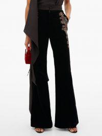 DUNDAS Sequin-embroidered velvet trousers in black