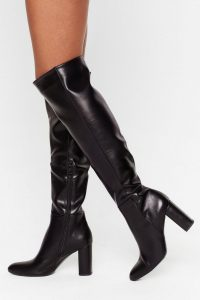 NASTY GAL Show Up Over-the-Knee Faux Leather Boots in black