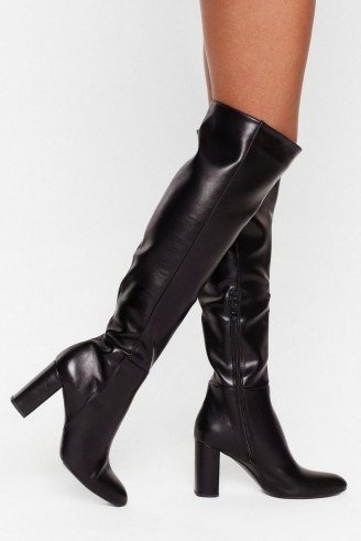 NASTY GAL Show Up Over-the-Knee Faux Leather Boots in black - flipped