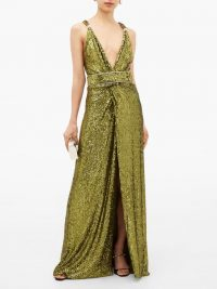DUNDAS Side-slit crystal-embellished sequinned dress in green – red carpet style gowns