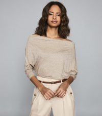 REISS SIENNA DRAPED JERSEY TOP NEUTRAL