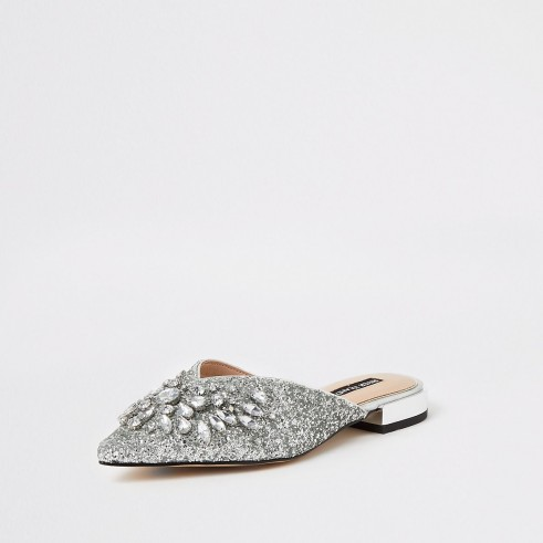 River Island Silver embellished pointed toe sandals