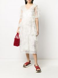 SIMONE ROCHA floral-embroidered tulle ruffle dress in ivory white | frothy and feminine