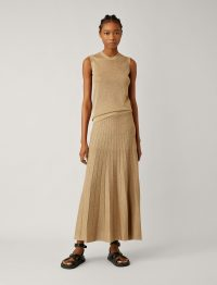 JOSEPH Lurex Skirt in Tan / long luxe knit skirts