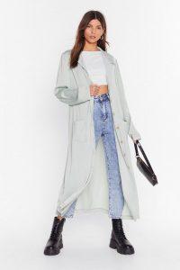 NASTY GAL Sleek in and Sleek Out Satin Duster Jacket in sage – longline lightweight coat