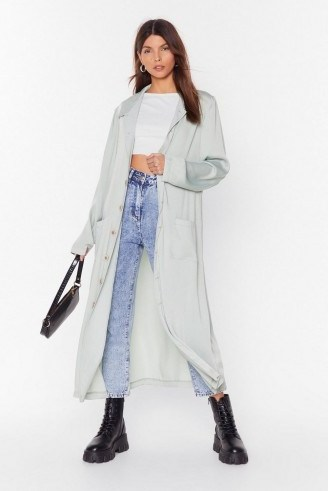 NASTY GAL Sleek in and Sleek Out Satin Duster Jacket in sage – longline lightweight coat - flipped