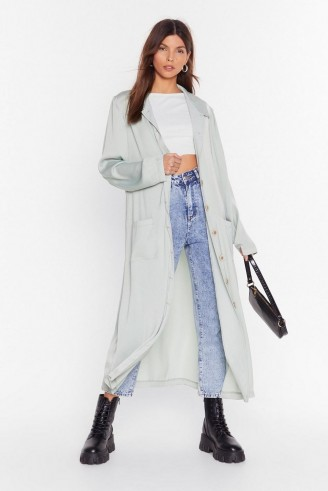 NASTY GAL Sleek in and Sleek Out Satin Duster Jacket in sage – longline lightweight coat
