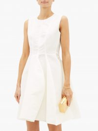 MAISON RABIH KAYROUZ Sleeveless faille mini dress in white ~ luxury fit and flare event dresses