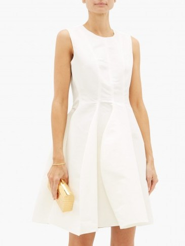 MAISON RABIH KAYROUZ Sleeveless faille mini dress in white ~ luxury fit and flare event dresses - flipped