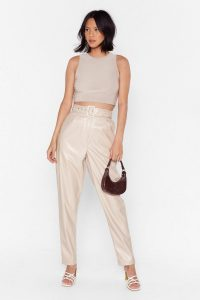 NASTY GAL Slit Me Up High-Waisted Faux Leather Trousers in ecru