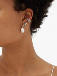 CHLOÉ Snake faux-pearl drop cuff earrings