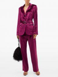 SIES MARJAN Sonya satin-stripe velvet trousers in burgundy-purple ~ jewel tones