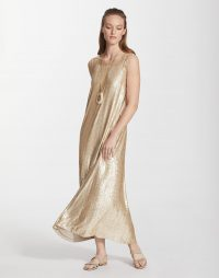 LAFAYETTE 148 Spectrum Sequins Ross Dress Gold Leaf Metallic – fluid dresses