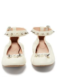 SIMONE ROCHA Spike and crystal-embellished leather ballet flats in cream