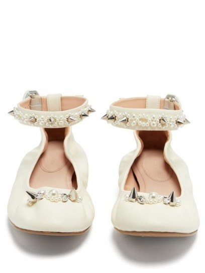 SIMONE ROCHA Spike and crystal-embellished leather ballet flats in cream - flipped