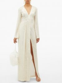 GALVAN St Moritz sequinned side-slit gown in white ~ luxe gowns ~ event glamour