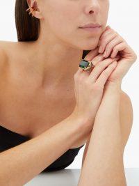 LYNN BAN Starburst tourmaline & lab sapphire ring ~ green stone rings