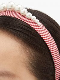 BENOÎT MISSOLIN Stella faux pearl-embellished red gingham headband | checked headbands