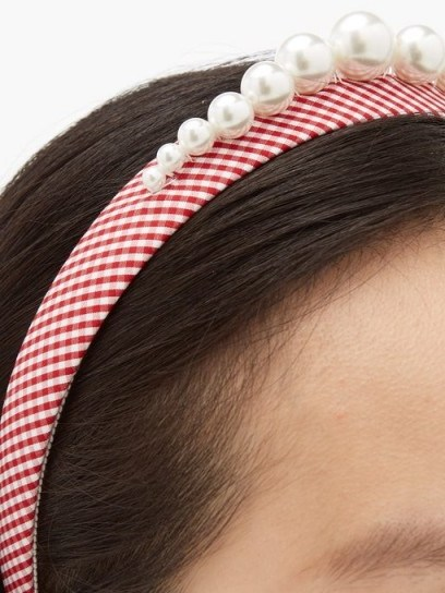 BENOÎT MISSOLIN Stella faux pearl-embellished red gingham headband | checked headbands - flipped