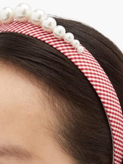 BENOÎT MISSOLIN Stella faux pearl-embellished red gingham headband | checked headbands