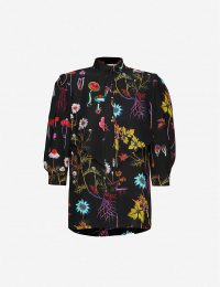 STELLA MCCARTNEY Floral-print silk-crepe blouse in black – bright florals