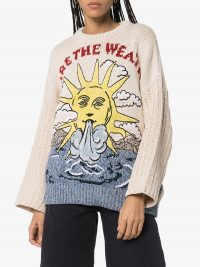 STELLA MCCARTNEY We Are The Weather knitted jumper in beige