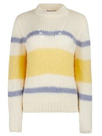 OLIVER BONAS Striped White Chunky Knitted Jumper | sloucht high neck sweater