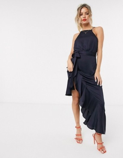 Style Cheat high neck frill hem midaxi dress in navy – evening glamour - flipped