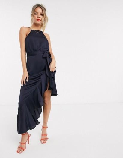 Style Cheat high neck frill hem midaxi dress in navy – evening glamour