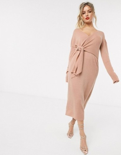 Style Cheat knot front knitted oversized dress in pink – glam knitwear - flipped