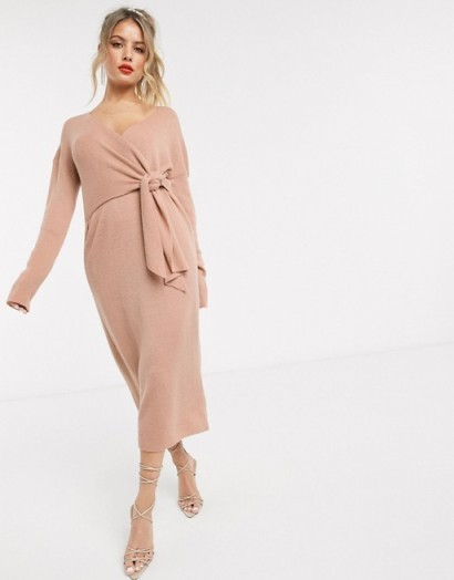 Style Cheat knot front knitted oversized dress in pink – glam knitwear