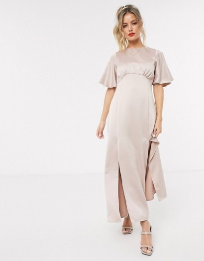 Style Cheat satin flutter sleeve midaxi dress in soft blush – front slit dresses - flipped