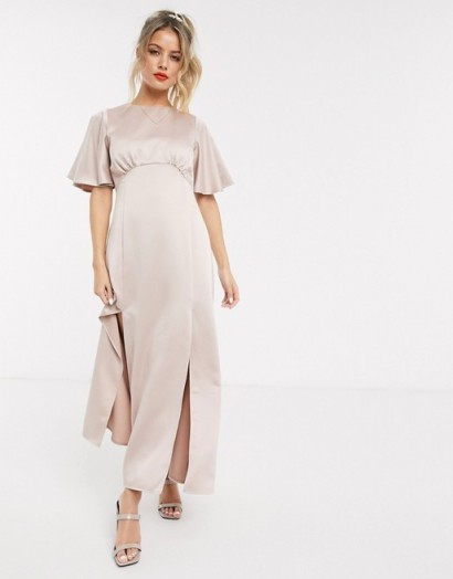 Style Cheat satin flutter sleeve midaxi dress in soft blush – front slit dresses