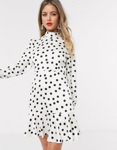 Style Cheat tie neck open back mini skater tea dress in cream polka dot print in mono – black and white dresses - flipped
