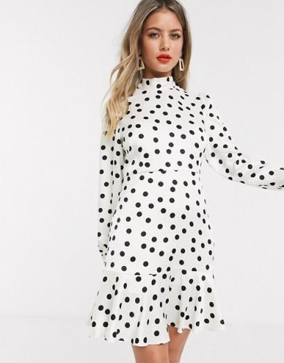 Style Cheat tie neck open back mini skater tea dress in cream polka dot print in mono – black and white dresses