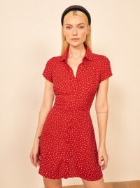 Reformation Sunday Dress in Ditty / red dot print dresses