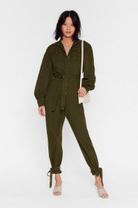 NASTY GAL Switch Up the Volume Denim Belted Boilersuit in Khaki – ankle tie boiler suit