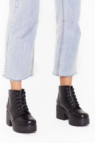 NASTY GAL Take You to Chunky Town Faux Leather Ankle Boots in black - flipped