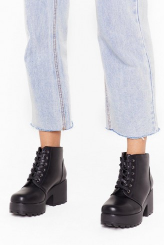 NASTY GAL Take You to Chunky Town Faux Leather Ankle Boots in black