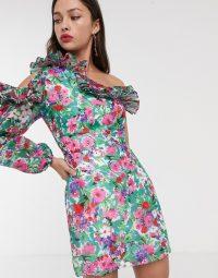 Talulah better together floral one shoulder mini dress in botanical bloom | ruffle trim dresses