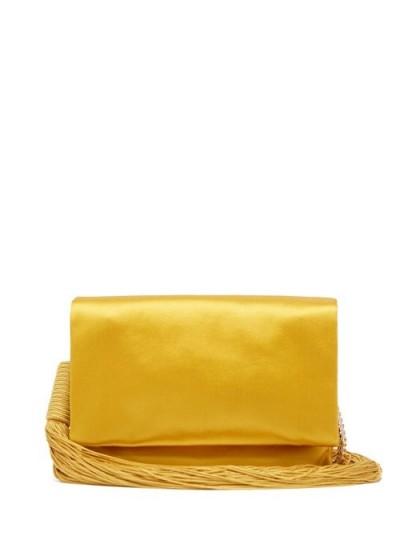 GALVAN Tasselled satin shoulder bag in golden yellow